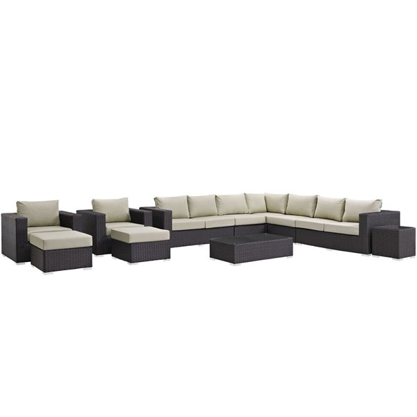 Modway Furniture Sojourn Beige 11pc Outdoor Patio Sectional EEI-1885-CHC-BEI-SET