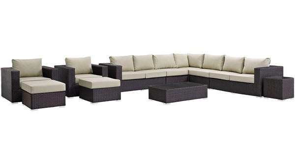 Modway Furniture Sojourn Beige 11pc Outdoor Sectional EEI-1885-CHC-BEI-SET