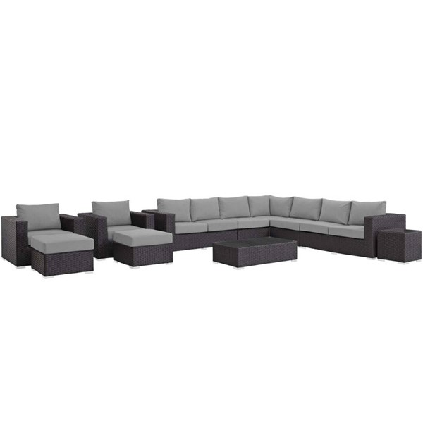 Modway Furniture Sojourn Gray 11pc Outdoor Sectional EEI-1885-CHC-GRY-SET