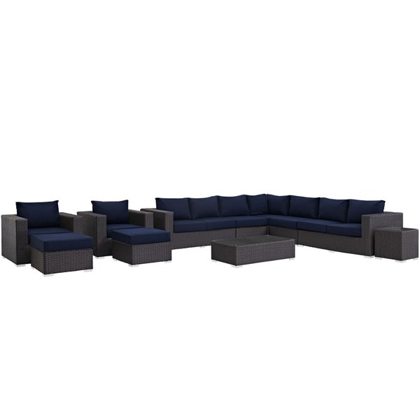 Sojourn Navy Fabric Synthetic Rattan 11pc Outdoor Patio Sectional Set EEI-1885-CHC-NAV-SET
