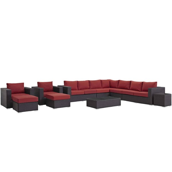 Modway Furniture Sojourn Red 11pc Outdoor Sectional EEI-1885-CHC-RED-SET