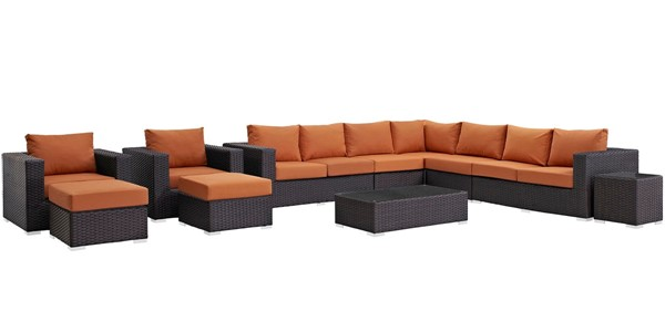 Modway Furniture Sojourn Tuscan 11pc Outdoor Sectional EEI-1885-CHC-TUS-SET