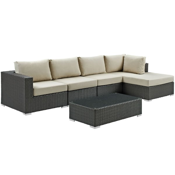 Modway Furniture Sojourn Beige 5pc Outdoor Sectional with RAF Chaise EEI-1886-CHC-BEI-SET