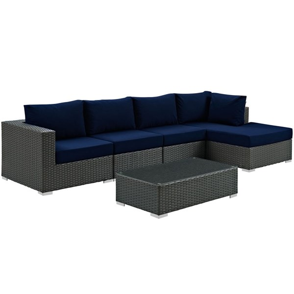 Sojourn Navy Synthetic Rattan 5pc Outdoor Sectional Set w/RAF Chaise EEI-1886-CHC-NAV-SET