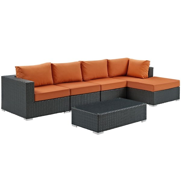 Sojourn Tuscan Synthetic Rattan 5pc Outdoor Sectional Set w/RAF Chaise EEI-1886-CHC-TUS-SET