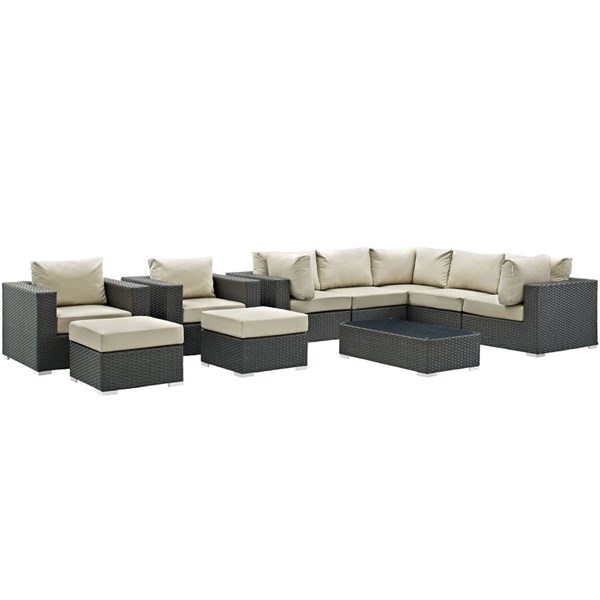 Sojourn Beige Synthetic Rattan 10pc Outdoor Patio Sectional Sets EEI-1888-OS-SEC-VAR