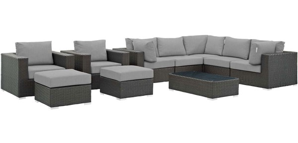Modway Furniture Sojourn Gray 10pc Outdoor Patio Sectional Set EEI-1888-CHC-GRY-SET