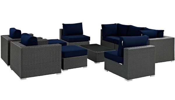 Modway Furniture Sojourn Navy 10pc Outdoor Patio Sectional Set EEI-1888-CHC-NAV-SET