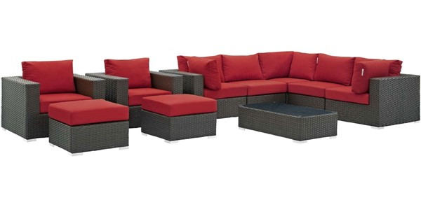 Modway Furniture Sojourn Red 10pc Outdoor Patio Sectional Set EEI-1888-CHC-RED-SET