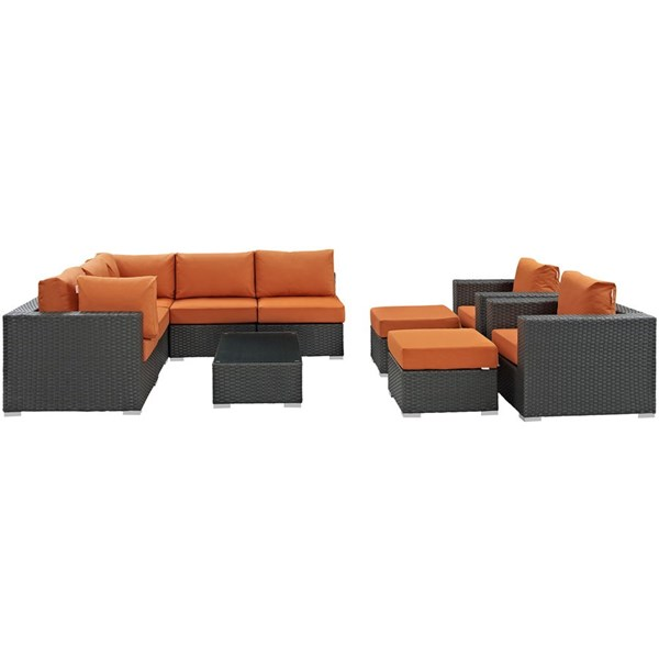 Sojourn Fabric Synthetic Rattan 10pc Outdoor Patio Sectional Set EEI-1888-CHC-TUS-SET