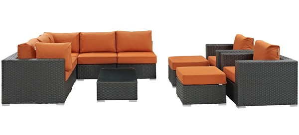 Modway Furniture Sojourn Tuscan 10pc Outdoor Patio Sectional Set EEI-1888-CHC-TUS-SET