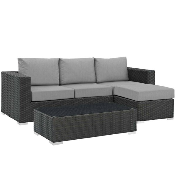 Modway Furniture Sojourn Gray 3pc Outdoor Sectional EEI-1889-CHC-GRY-SET