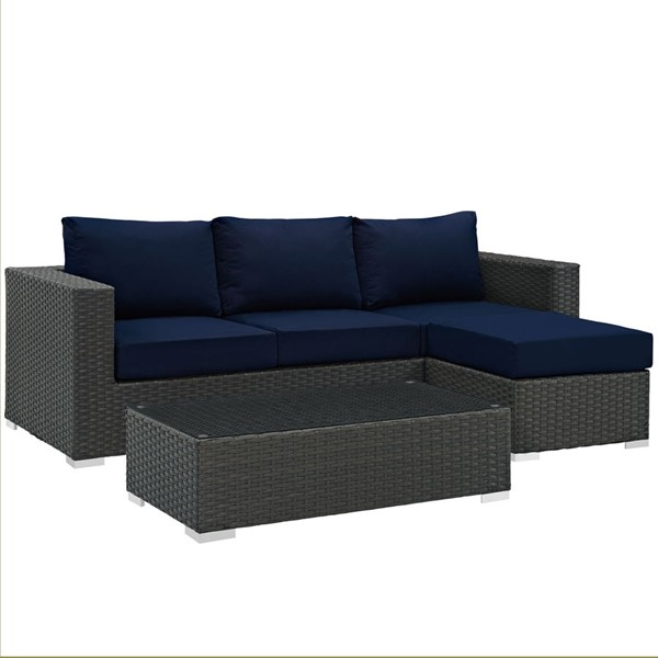 Sojourn Navy Fabric Synthetic Rattan 3pc Outdoor Patio Sofa Set EEI-1889-CHC-NAV-SET