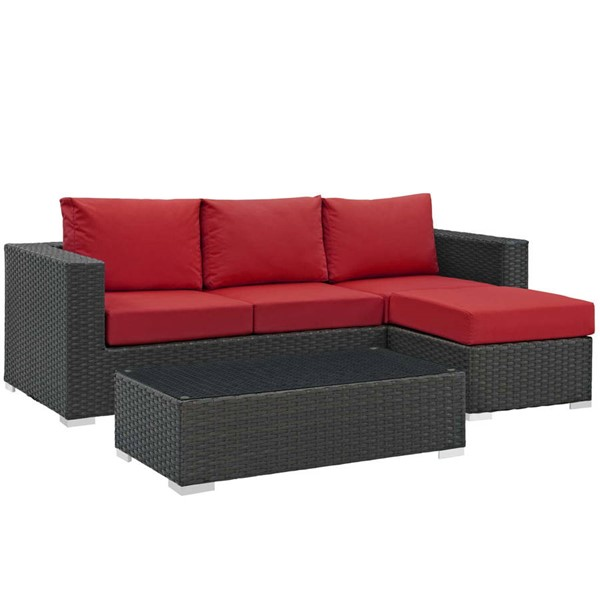 Modway Furniture Sojourn Red 3pc Outdoor Sectional EEI-1889-CHC-RED-SET