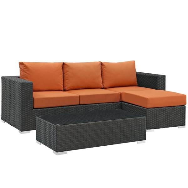 Modway Furniture Sojourn Tuscan 3pc Outdoor Sectional EEI-1889-CHC-TUS-SET