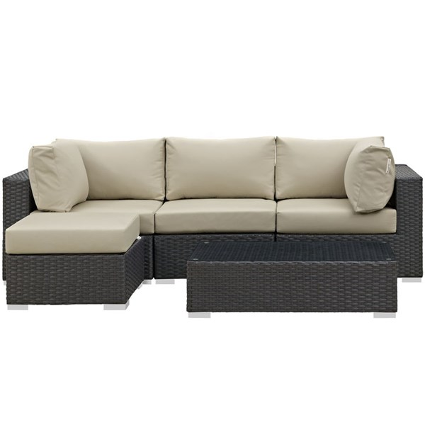 Modway Furniture Sojourn Beige LAF 5pc Outdoor Sectional EEI-1890-CHC-BEI-SET