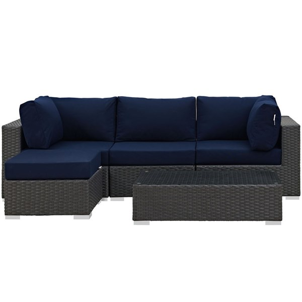 Sojourn Navy Fabric Synthetic Rattan 5pc Outdoor Patio Sectional Set EEI-1890-CHC-NAV-SET