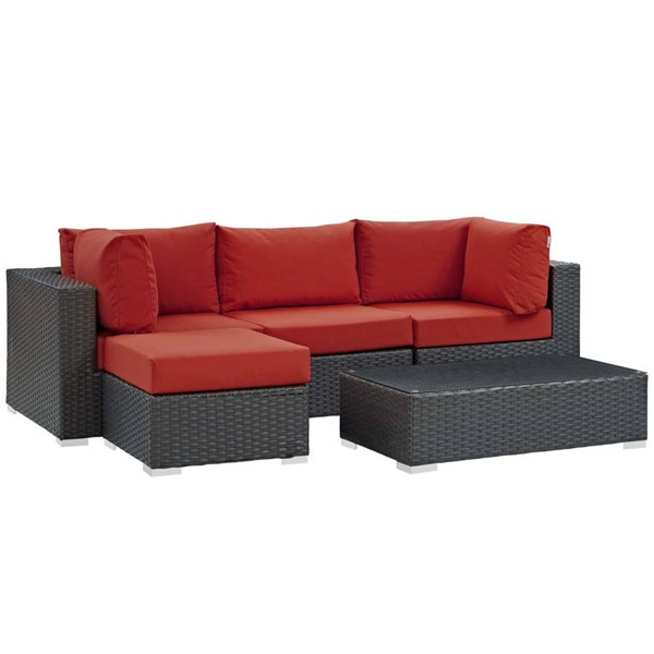 Modway Furniture Sojourn Red LAF 5pc Outdoor Sectional EEI-1890-CHC-RED-SET