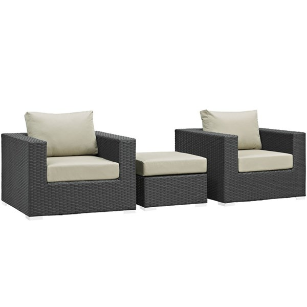 Sojourn Fabric Synthetic Rattan 3pc Outdoor Chairs & Ottoman Set EEI-1891-CHC-BEI-SET