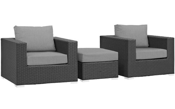Modway Furniture Sojourn Gray 3pc Outdoor Chairs and Ottoman Set EEI-1891-CHC-GRY-SET