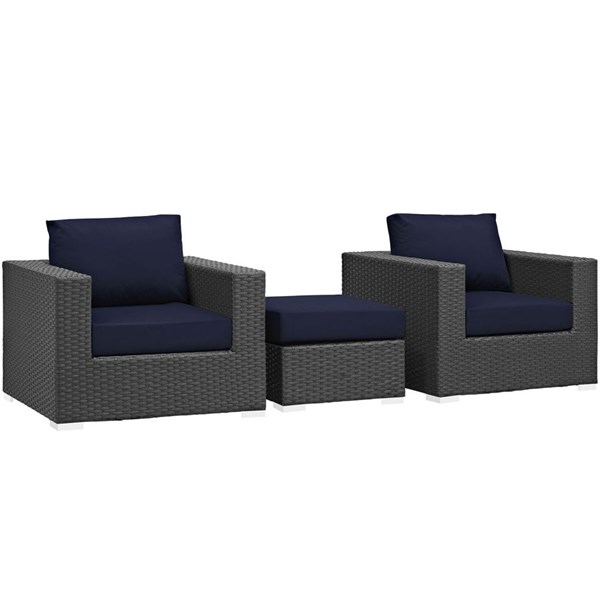 Modway Furniture Sojourn Navy 3pc Outdoor Chairs and Ottoman Set EEI-1891-CHC-NAV-SET