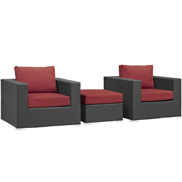 Modway Furniture Sojourn Red 3pc Outdoor Chairs and Ottoman Set EEI-1891-CHC-RED-SET