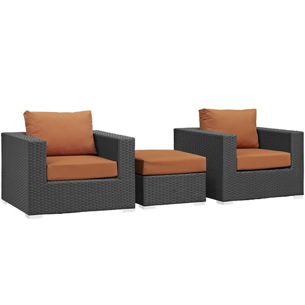 Modway Furniture Sojourn Tuscan 3pc Outdoor Chairs and Ottoman Set EEI-1891-CHC-TUS-SET