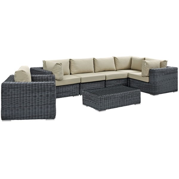 Modway Furniture Summon 7pc Outdoor Sectional Sets EEI-1892-OS-SEC-VAR
