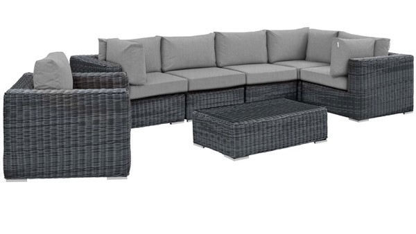 Modway Furniture Summon Gray 7pc Outdoor Sunbrella Sectional EEI-1892-GRY-GRY-SET