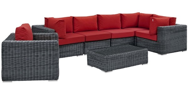 Modway Furniture Summon Red 7pc Outdoor Sunbrella Sectional EEI-1892-GRY-RED-SET