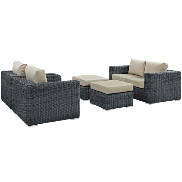 Summon Beige Fabric Synthetic Rattan 5pc Outdoor Patio Sofa Sets EEI-1893-OS-SS-VAR