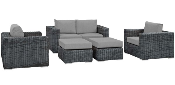 Modway Furniture Summon Gray 5pc Outdoor Patio Sofa Set EEI-1893-GRY-GRY-SET