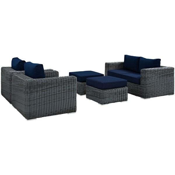 Summon Navy Fabric Synthetic Rattan 5pc Outdoor Patio Sofa Set EEI-1893-GRY-NAV-SET