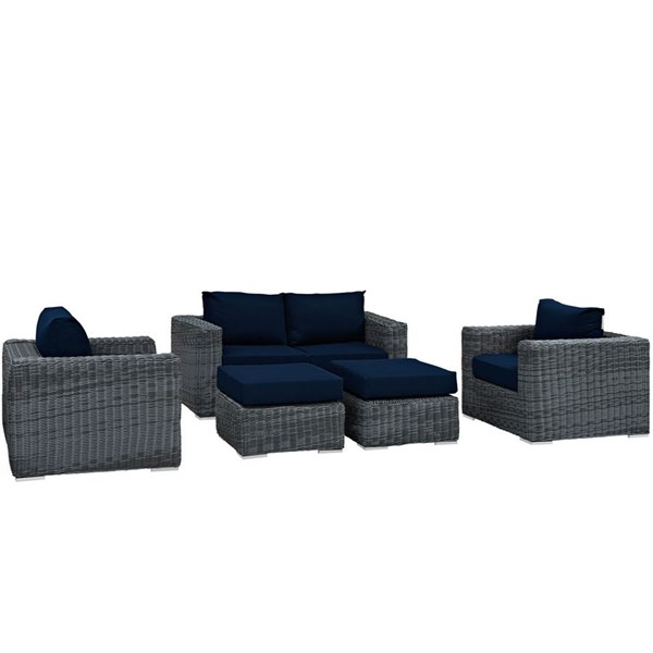 Modway Furniture Summon 5pc Outdoor Patio Sofa Sets EEI-1893-OS-SS-VAR