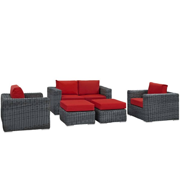 Modway Furniture Summon Red 5pc Outdoor Patio Sofa Set EEI-1893-GRY-RED-SET