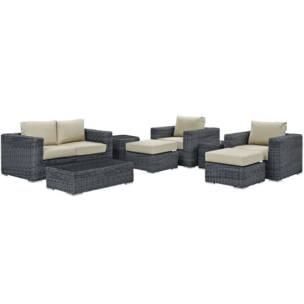 Modway Furniture Summon 8pc Outdoor Patio Sofa Sets EEI-1894-OS-SS-VAR