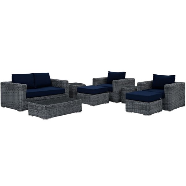 Modway Furniture Summon Navy 8pc Outdoor Patio Sofa Set EEI-1894-GRY-NAV-SET