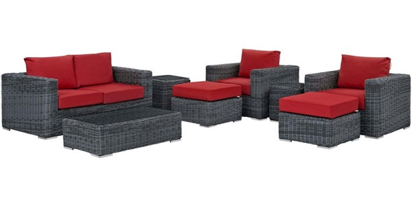 Modway Furniture Summon Red 8pc Outdoor Patio Sofa Set EEI-1894-GRY-RED-SET