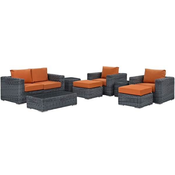 Modway Furniture Summon Tuscan 8pc Outdoor Patio Sofa Set EEI-1894-GRY-TUS-SET