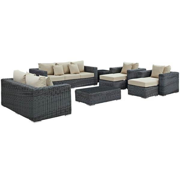 Summon Beige Fabric Synthetic Rattan 9pc Outdoor Patio Sofa Set EEI-1895-GRY-BEI-SET