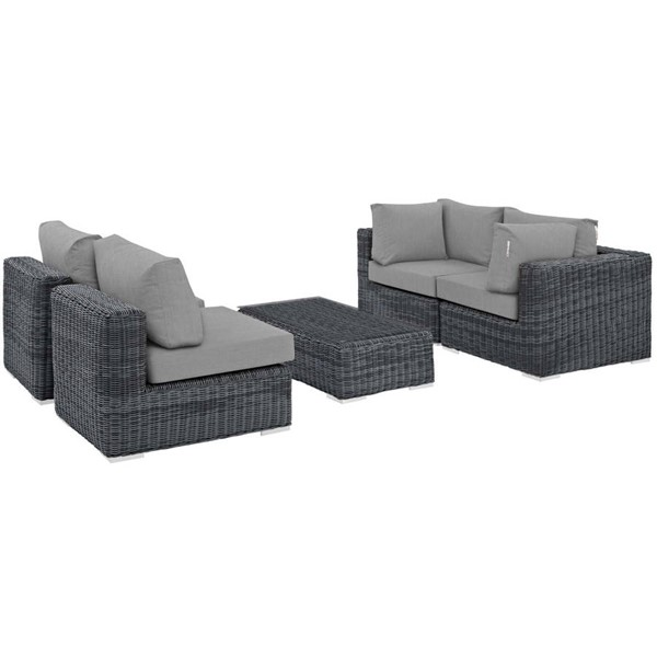 Modway Furniture Summon Gray Fabric 5pc Outdoor Sunbrella Sectional Set EEI-1896-GRY-GRY-SET