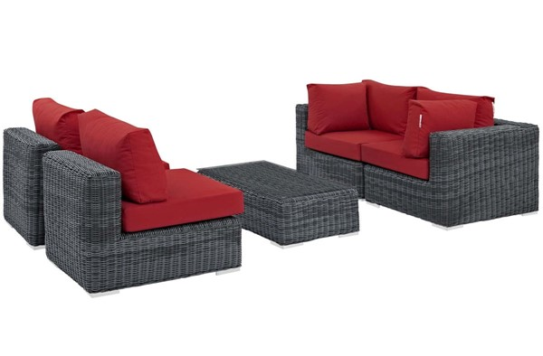 Modway Furniture Summon Red Fabric 5pc Outdoor Sunbrella Sectional Set EEI-1896-GRY-RED-SET