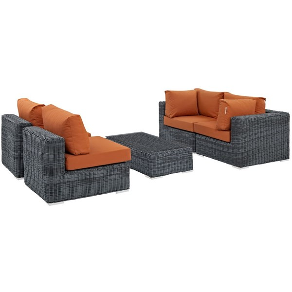 Summon Tuscan Fabric Synthetic Rattan Glass 5pc Outdoor Patio Sofa Set EEI-1896-GRY-TUS-SET