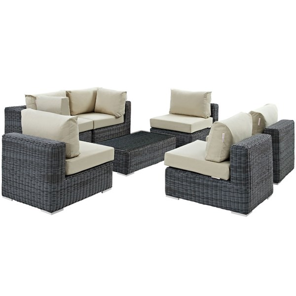 Summon Beige Fabric Synthetic Rattan 7pc Outdoor Patio Sectional Set EEI-1897-GRY-BEI-SET