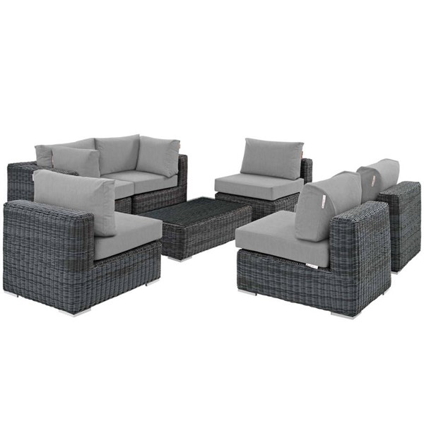 Modway Furniture Summon Gray 7pc Outdoor Patio Sectional Set EEI-1897-GRY-GRY-SET