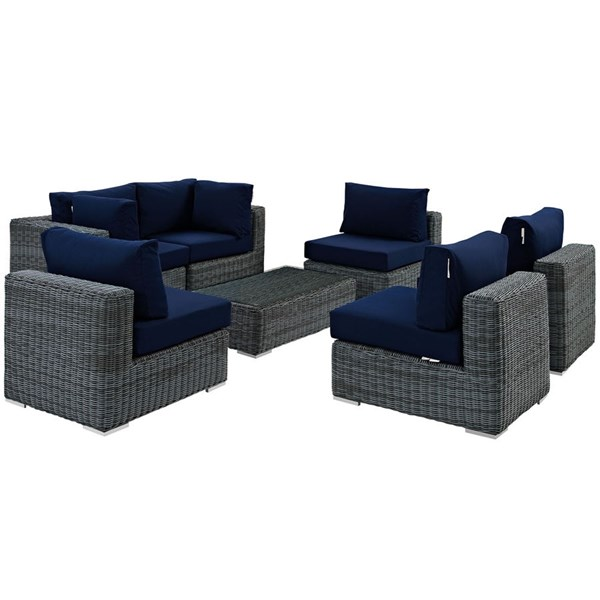 Modway Furniture Summon Navy 7pc Outdoor Sectional EEI-1897-GRY-NAV-SET
