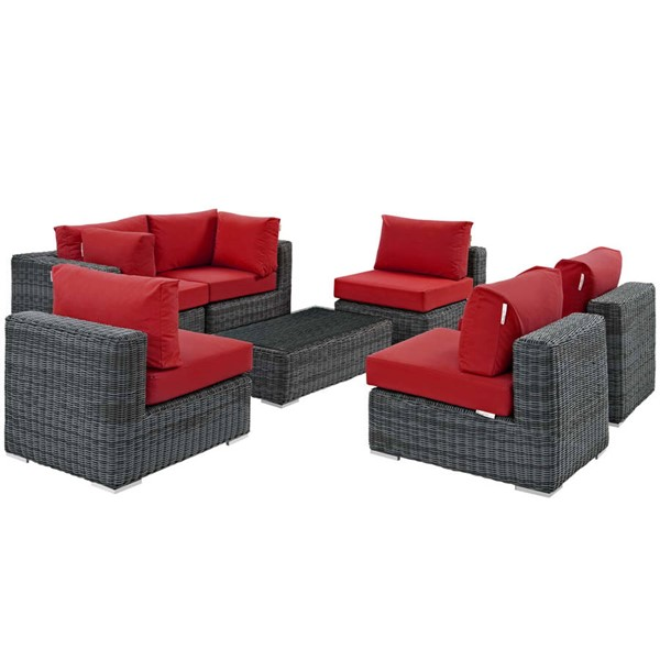 Modway Furniture Summon Red 7pc Outdoor Patio Sectional Set EEI-1897-GRY-RED-SET