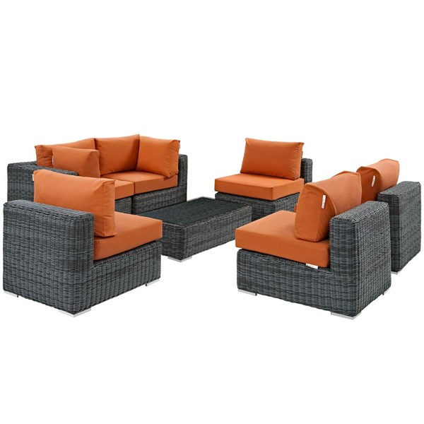 Summon Tuscan Fabric Synthetic Rattan Glass 7pc Outdoor Sectional Set EEI-1897-GRY-TUS-SET