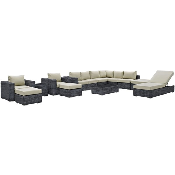 Modway Furniture Summon 12pc Outdoor Patio Sectionals EEI-1898-OS-SEC-VAR