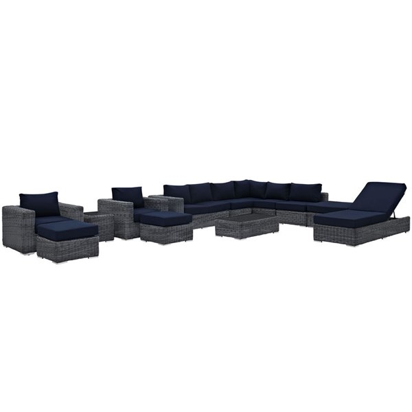 Summon Navy Fabric Synthetic Rattan 12pc Outdoor Patio Sectional Set EEI-1898-GRY-NAV-SET